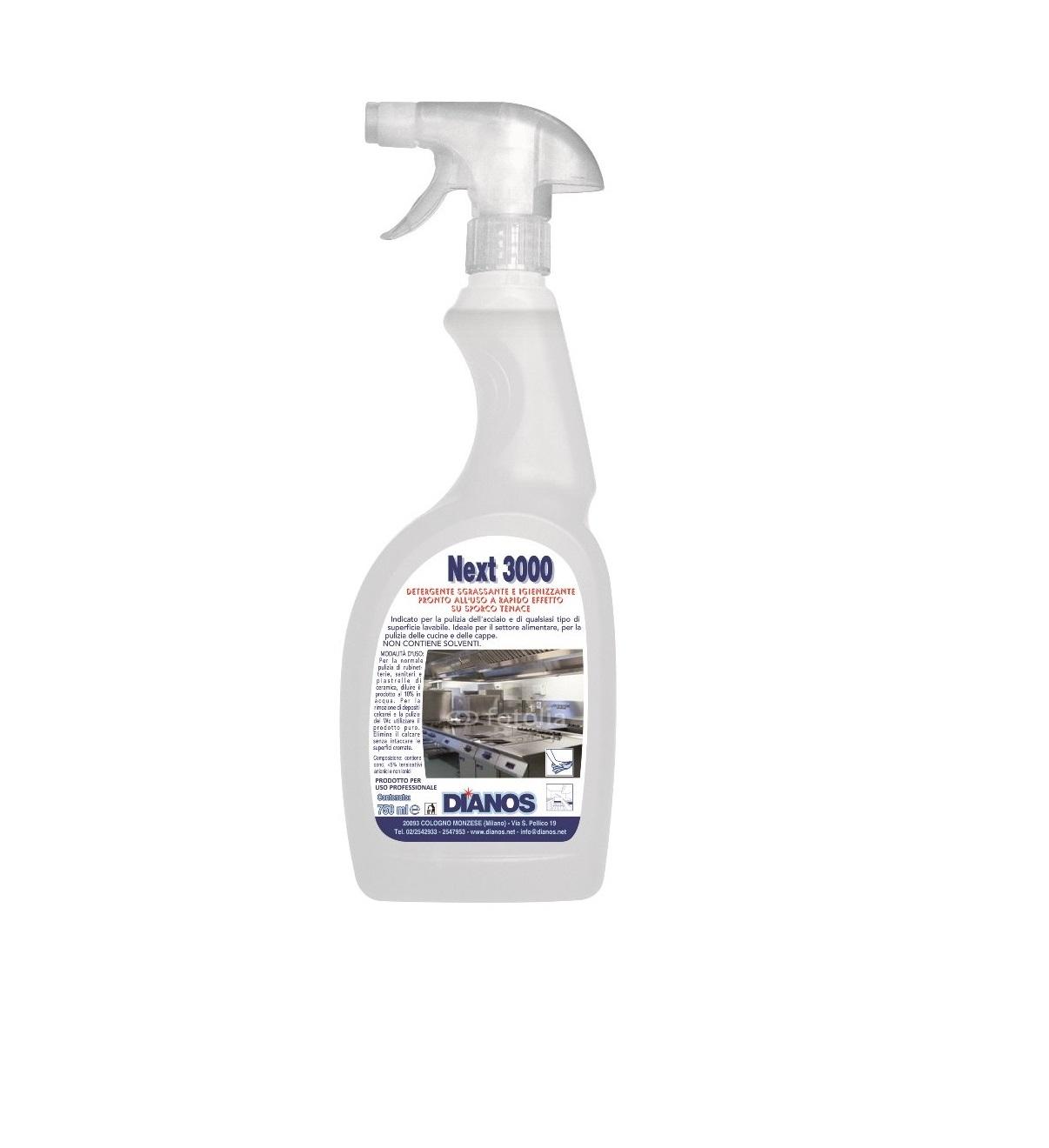 Next 3000 - Spray pronto uso sgrassante ad effetto rapido, ideale per superfici in acciaio Image